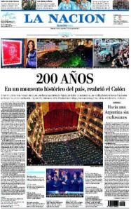 Tapa de La nación 25 de mayo de 2010